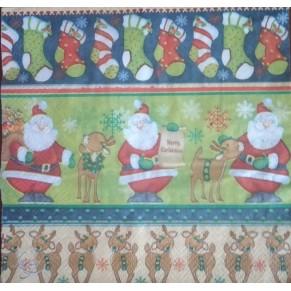Салфетка для декупажа Дед Мороз с оленем, DFN2022