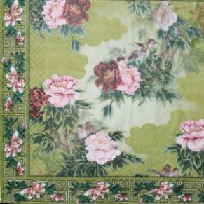 Салфетка для декупажа Цветы на зеленом фоне, SD124