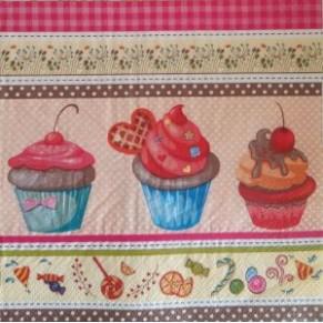Салфетка для декупажа Пирожные с вишенками, SD150