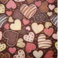 Салфетка для декупажа Кофейный фон с сердечками, SD165