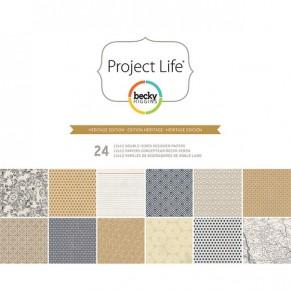 Набор бумаги Heritage, Project Life, 30х30 см, 24 листа, American Crafts, 380178