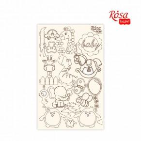Чипборд Детские мотивы 4, белый картон, 12,6х20 см
