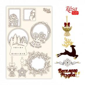 Чипборд New Year's magic 4, белый картон, 12,8х20 см