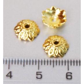 Обниматель для бусин Лепестки, светлое золото, 10 шт, Margo