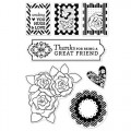 Штампы Pattern Hearts and Flowers, Hero Arts,15х12 см, CL596