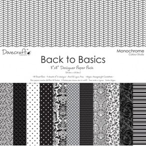 Набор бумаги Back to Basics Monochrome, 20×20 см, 12 листов, Dovecraft, DCDP137