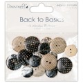Пуговицы деревянные Back to Basics Monochrome, Dovecraft, DCWB003