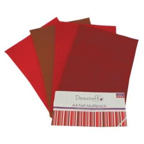 Набор фетра Reds, формат A4, 4 листа, Dovecraft, DCXFL024