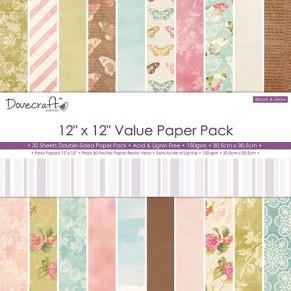 Скрапбумага Bloom and Grow Value Paper Pack, 30х30 см, 30 листов, Dovecraft, DCDP160