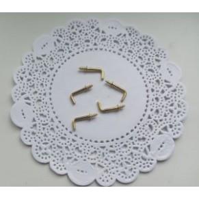 Крючок металлический для ключниц, с резьбой, золото, 18x7 мм