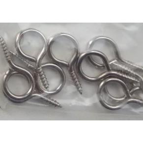 Крючок-подвес с резьбой, серебро, 20x10 мм