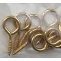 Крючок-подвес с резьбой, золото, 26x12 мм