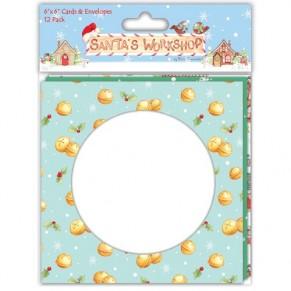 Основы для открыток Santa's Workshop, 15х15 см, 12 шт, Helz Cuppleditch, HCXBC01