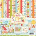 Набор бумаги Hello Summer, 30х30 см, 12 листов + 2 листа наклеек, Echo Park, HS29016