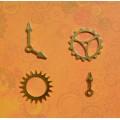 Набор металлических украшений Шестеренки и стрелки, золото,  HY15221