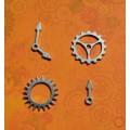 Набор металлических украшений Шестеренки и стрелки, серебро,  HY15222