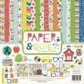 Набор бумаги Paper and Glue, 30х30 см, 12 листов и 2 листа наклеек, Echo Park, PA51016