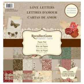 Набор бумаги Love Letters, 30х30 см, 24 листа, Recollections, PS-005-00171