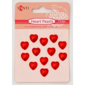 Набор жемчужин самоклеющихся Сердечки красные, 13 шт, Santi, S-952661
