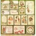 Лист односторонней бумаги 30x30 Открытки из коллекции Christmas Night, Scrapmir, SM2000011