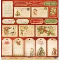 Лист односторонней бумаги 30x30 Карточки из коллекции Christmas Night, Scrapmir, SM2000012