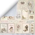 Лист двусторонней бумаги 30x30 Карточки из коллекции Shabby Winter, Scrapmir, SM2800010