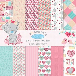 Набор бумаги Tiny Tatty Teddy Girl, 20×20 см, 12 листов, Me to You