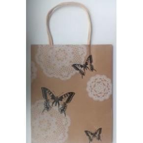 Подарочный крафтовый пакет с бабочками
