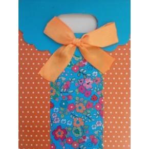 Подарочный пакет с оранжевым бантом, на липучке