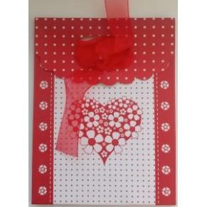 Подарочный пакет с красным бантом, на липучке