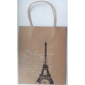 Подарочный крафтовый пакет с Эйфелевой башней