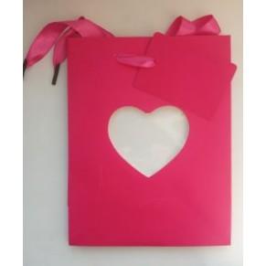 Подарочный пакет с вырезом в виде сердца, розовый