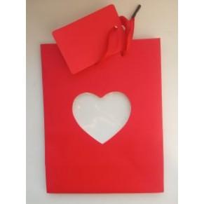 Подарочный пакет с вырезом в виде сердца, красный