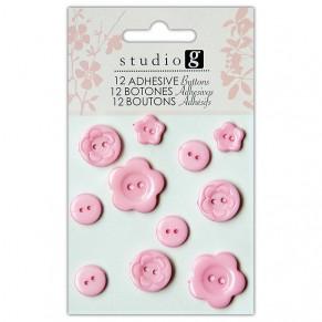 Пуговицы пластиковые, розовые, Hampton Art, VAC0403-3