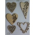 Набор декора Wood Flourishes-Hearts, Китай, WF0003