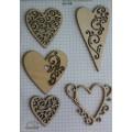 Набор декора Wood Flourishes-Hearts, Китай, WF0003