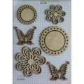 Набор декора Wood Flourishes-Flowers and Butterflies, Китай, WF0006