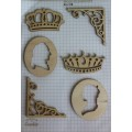 Набор декора Wood Flourishes-Silhouettes and Crowns, Китай, WF0009