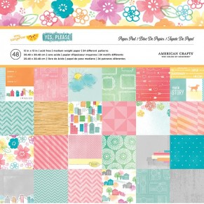 Набор бумаги Amy Tangerine YES PLEASE, American Crafts, 48 листов, размер 30 х 30 см, ac009_1