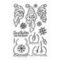 Набор акриловых штампов Christmas clear stamp - Build a snowman, Stampendous, 16 шт, размер 11.5х19.5 см, SSC1184